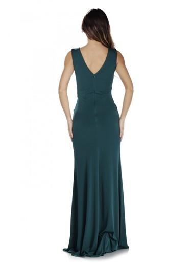 Pierre Cardin Yeşil Sandy Yırtmaçlı Uzun Abiye Elbise Yeşil